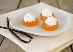 Creamsicle Jello Shots 1 pkg orange flavoured gelatin 1 cup boiling water 1 cup vanilla vodka whipped cream  Pour boiling water over orange gelatin, let gelatin disolve completely, mix in vanilla vodka, pour in 8x8 pan, set in fridge for 4 hrs, cut into squares, and whipped cream onto before serving