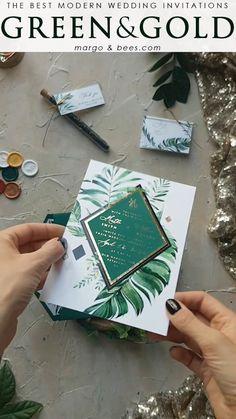 New wedding invitations diy videos greenery Ideas Green Wedding Invitations, Diy Invitations, Wedding Invitation Cards, Invitation Design, Wedding Stationery, Creative Wedding Invitations, Invitation Wording, Invitation Templates, Shower Invitation