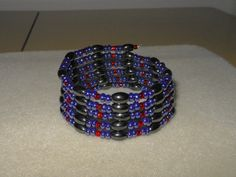 Magnetic Wrap/bracelet/lariat necklace/choker necklace/anklet/blue and red glass seed beads/hematite magnetic beads on Etsy, $18.00