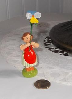 New Erzgebirge Flower Child Girl 3 with Pansy from Weha Wood Figurine Germany | eBay