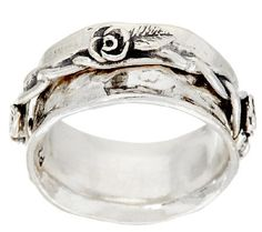 Sterling Silver Rose Design Spinner Ring by Or Paz