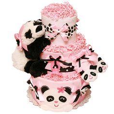 Baby Panda Pink Diaper Cake - $0.00 : Diaper Cakes Mall, Unique Baby shower diaper cake
