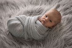 Newborn baby girl photographed in a bed of grey with eyes wide open