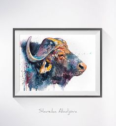 African buffalo watercolor painting print