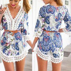 Sexy Lace Crochet Boho Beach Dress Floral Chiffon Shirt Blouse Sundress