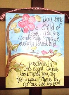 You are a Child of God Children's Hanpainted wall painting on canvas
