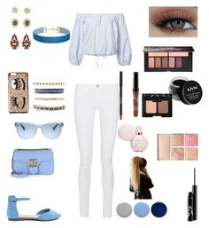 """Everything is blue"" by elenanewman on Polyvore featuring Sea, New York, Frame, Gucci, Charlotte Russe, Ralph Lauren, Miss Selfridge, Burberry, NYX, Smashbox and Chiara Ferragni"