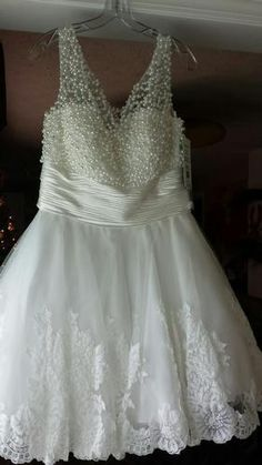 www.pageantresale.com - Brand-New, Never-Worn, Sherri Hill #4302 Wedding/Cocktail Dress.  Click for more info or to contact the seller.  Have something to sell?  Visit www.pageantresale.com to get started!  #pageantresale #whitecocktail #weddingdress