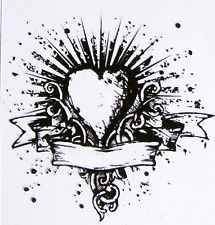 Tim Holtz cling clear stamp 'Heart Banner tattoo' NEW #103