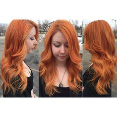 Mermaid hair orange copper blonde balayage highlights long hair curls curly