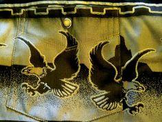 Panhandle Slim Mens Western Shirt XL Flying Eagles Black Pearl Button Front #PanhandleSlim #Western