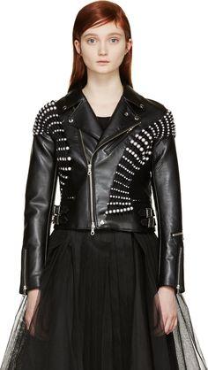 Noir Kei Ninomiya Black Pearl-Embellished Biker Jacket - SSENSE