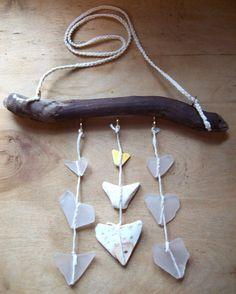 Small Heartshaped Sea Pottery SunCatcher, SeaGlass Mobile, Sea Glass Art, Driftwood Mobile, Genuine Sea Glass, Natural Driftwood by RedIslandSeaGlass on Etsy