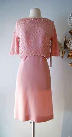 60s Dress // 60's Pink Champagne Crepe Dress by by xtabayvintage, $125.00