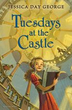 Tuesdays at the Castle by Jessica Day George ages 8-12  Every Tuesday, the castle where Princess Celie and her family live, adds on a new room, or turret, or wing. Celie loves her castle, and it's living ways. So, when robbers attack her parents carriage, and they are never seen again, Celie takes comfort that their room is exactly the same, hoping the castle knows they are still alive. But, can the castle and Celie stop the Royal Council and the foreign prince from taking over the kingdom?