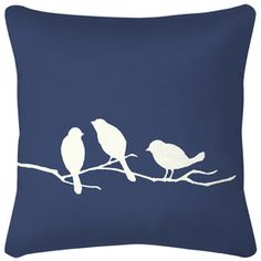 3 Birds Navy Blue Floral Reversible UV-Protected Outdoor Accent Pillow