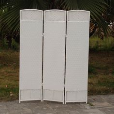 Outdoor/Indoor Woven Resin 3 Panel Room Divider - White - CDI-137SN3 - WHITE