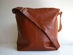 Large Handbag Messenger Bag Brown by TheLeatherStore on Etsy. via Etsy.