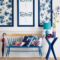blue and white room decor