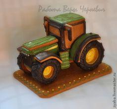 Пряничный трактор - оригинальный подарок начальнику - зелёный,пряник,трактор