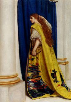 "John Everett Millais  [EnglishPre-RaphaelitePainter, 1829-1896]EstherOil on canvas77.4 x 106cm(30.47"" x 3' 5.73"")Public collection"