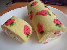 Strawberry Roll Cake Mini Cakes Swiss Rolls And