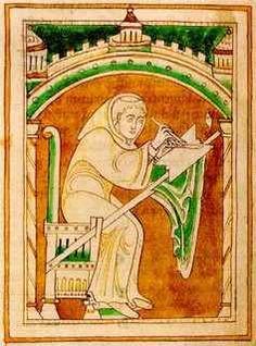 Laurenzio, priore di Durham fra il 1149 ed il - 54, è rappresentato come copista in un manoscritto a lui contemporaneo di un suo proprio lavoro che ancora oggi si conserva a Durham, nell'atto di stirare la pagina con un coltello che tiene nella mano sinistra.