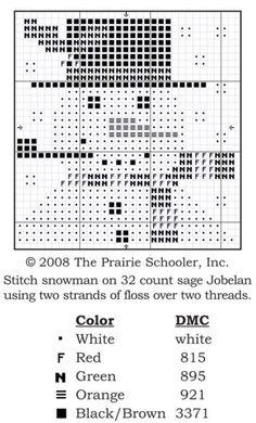 bonhomme à la pipe Snowman by Prairie Schooler (grille)