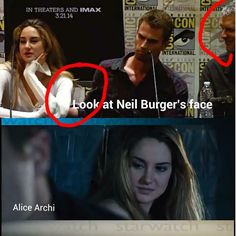 Hahaha SHEO is so real, everybody knows that ! Neil Burger makes a smile when Theo put his arm on Shailene's back
