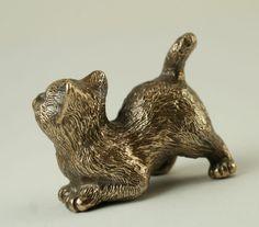 Solid Bronze Cat miniature by N.Fedosov. | eBay