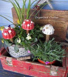 Garden Junk Jello Mold Toadstools www.organizedclutterqueen.blogspot.com