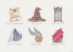 """Harry Potter and the Philosopher's Stone -- A series of """"artifacts"""" from the wizarding world -- Ink and watercolor Illustrations by Hannah B Pacious - Book 1"""
