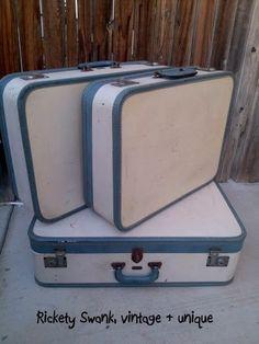 Vintage Arflite Suitcase Set - Luggage - Two Tone - Light blue Leather Pair - Baby Blue Travel - Train case - Set Group - Matching Soft blue...