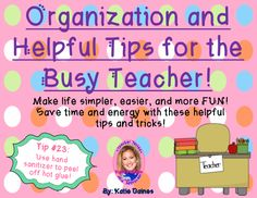 If you're like me, you can't function right if things aren't organized or running smoothly. Well, I've taken 50 of my favorite tips and tricks and put them HERE just for you! These will save you time, energy, and will help you be more efficient. I've included real photographs from my classroom to help explain some of them. Whether you're a new teacher or a seasoned vet, I know these will help! (The hot glue tip SAVED MY LIFE... well at least it saved me about 2 hours of extra work!)