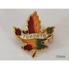 Toronto Canada Maple Leaf Gilt Metal & Enamel Lapel Pin Badge/ Brooch Listing in the Enamel Badges & Pinbacks,Badges, Pinbacks & Patches,Collectables Category on eBid United Kingdom | 145251702