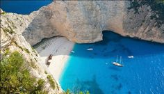 Navagio Beach, Zakynthos - A quick guide to the top Greek islands Best Places In Greece, Best Beaches In Europe, Beaches In The World, Top Greek Islands, Greek Islands To Visit, Most Beautiful Beaches, Beautiful Places, Amazing Places, Cool Places To Visit