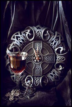 Wine and Celtic cross.