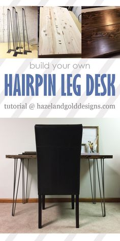 Learn how to make your own DIY Hairpin Leg Desk. It's simple, strong, and looks fantastic with any room! There's a link for 10% off too, if you hurry, ends 1/31/17. ....woodworking, do-it-yourself, building, build, DIY, wood, furniture,