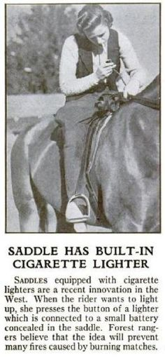 1936 Saddle with built-in cigarette lighter. from Fred Schiller on retronaut.com