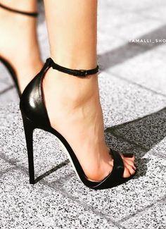 Ankle Strap Heels, Strappy Heels, Stiletto Heels, Shoes Heels, Open Toe High Heels, Black High Heels, Stilettos, Beautiful High Heels, Prom Heels