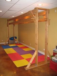 This listing is for an indoor basement MONKEY/BRACHIATION BARS unit that can be used for fun, physical therapy or a specials needs individual. This custom made wood MONKEY/BRACHIATION BARS unit is adjustable; it can be set at any desired height. It measures approximately 15 1/2 feet long, 7 1/2 feet high, and 5 feet wide at the base. It was initially constructed for over $2,000. This MONKEY/BRACHIATION BARS unit is currently in a basement, and will need to be disassembled by the b…