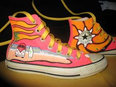 Converse Pink Hand Painted VW Surf