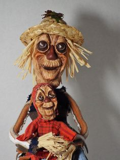 The Scarecrow Art Doll Father and Son Time Hand by llacarve
