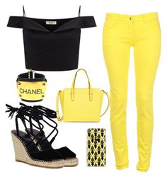 """Black and Yellow"" by tlb0318 on Polyvore featuring Lipsy, Kate Spade, Casetify and Chanel"