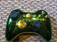 Brand new green chrome Xbox 360 controller with gold LEDs