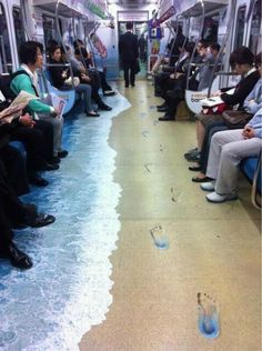 subway painted like a beach