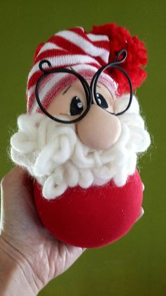 fabric santa claus, santa claus with ball, bauble … – Easter Christmas Pom Pom Crafts, Christmas Time, Christmas Decorations, Xmas, Christmas Ornaments, Holiday, How To Make Socks, Garden Party Wedding, Art Case