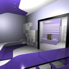 Purple and grey interior design