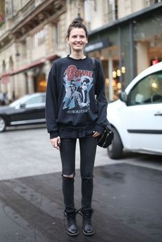 David Bowie sweatshirt with distressed denim and Doc Martens.