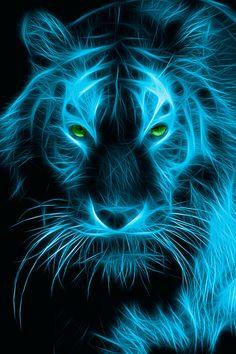 33 Ideas Tattoo Animal Tiger Pictures For 2019 Tiger Wallpaper, Animal Wallpaper, Big Cats Art, Cat Art, Art Tigre, Art Fractal, Tiger Artwork, Tiger Pictures, Blue Tigers